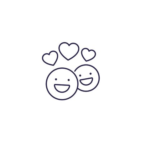 happy customers, clients vector line icon