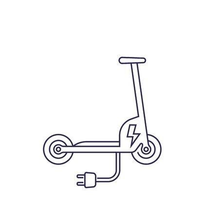kick scooter, electric version, line icon Ilustracja