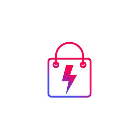 Shopping bag with lightning bolt vector icon  イラスト・ベクター素材