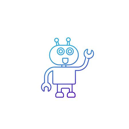 robot assistant vector line icon