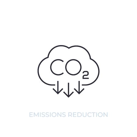 co2, carbon emissions reduction, vector line icon Illusztráció