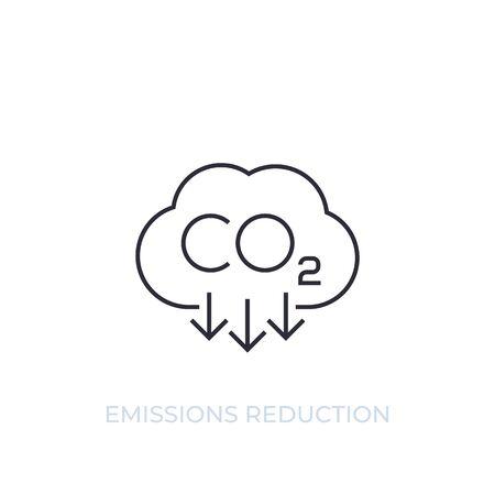 CO2, riduzione delle emissioni di carbonio, icona della linea vettoriale