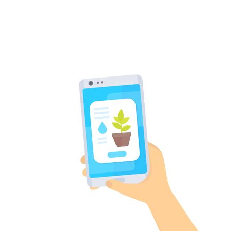 Mobile app for home plants, smartphone in hands, vector illustration Иллюстрация