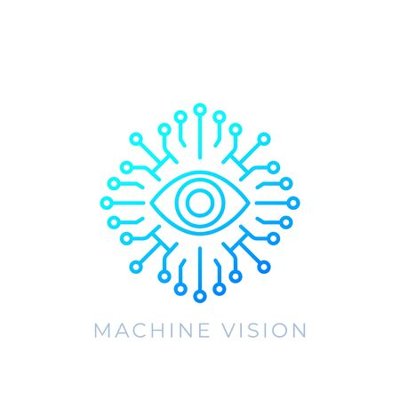 Machine vision, AI concept, vector line icon Иллюстрация