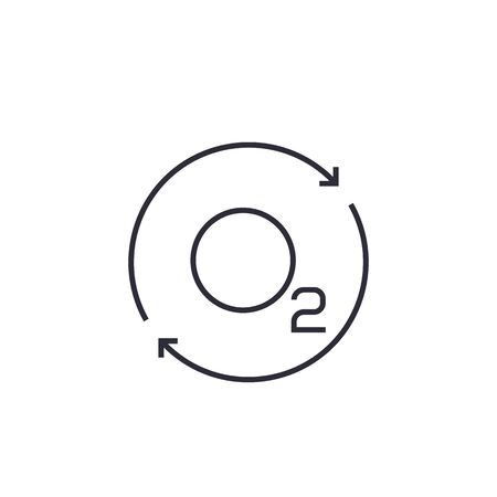 oxygen icon with arrows, line vector