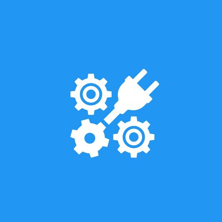 electric plug with gears, cogwheels icon