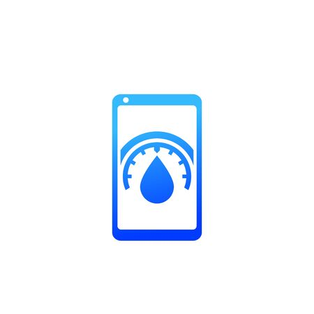 humidity control mobile app icon on white Vectores