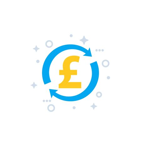cash back, money refund and exchange vector icon with pound  イラスト・ベクター素材