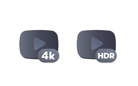 4K and HDR video content icons Çizim