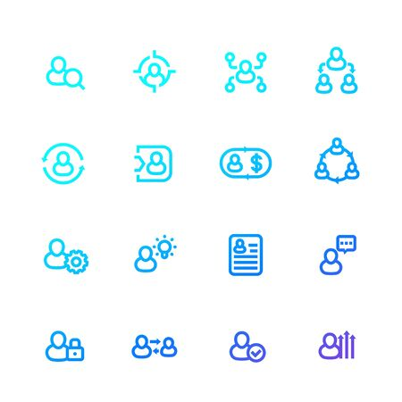 Management, human resources and HR line vector icons set