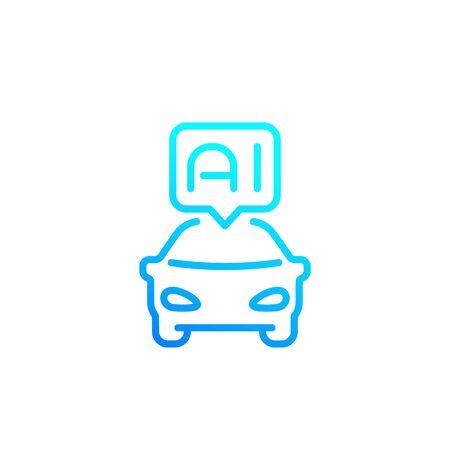 autonomous car with AI line icon