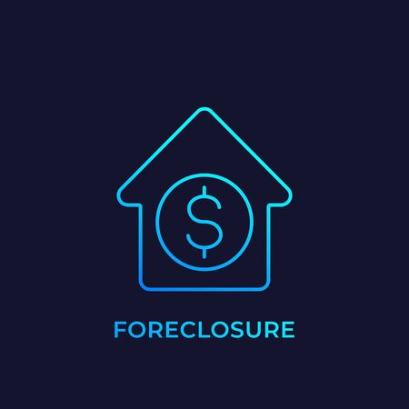 foreclosure icon, linear vector