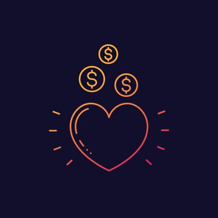 Charity vector icon, linear Иллюстрация