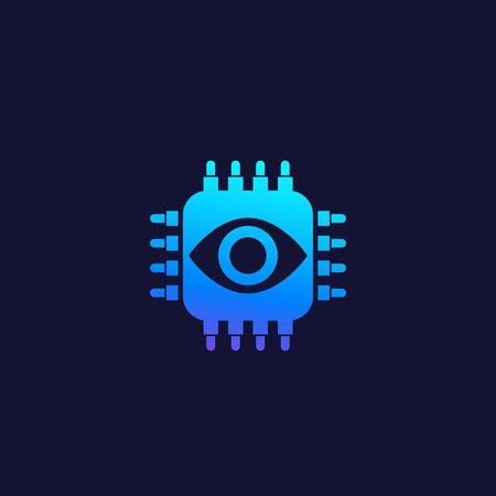 Machine vision, AI concept, vector icon Çizim