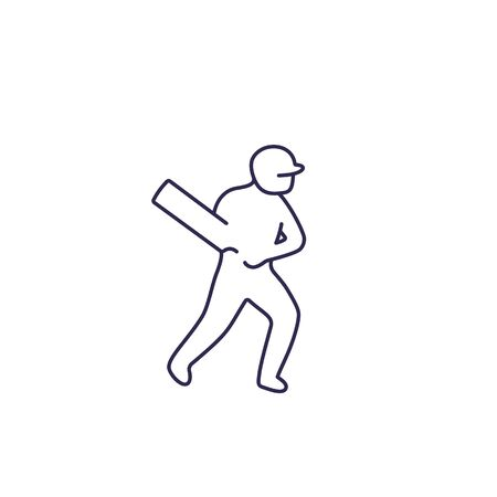 Cricket icon, player with bat, line vector Çizim