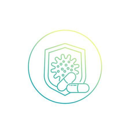 Antibiotic resistant virus vector line icon
