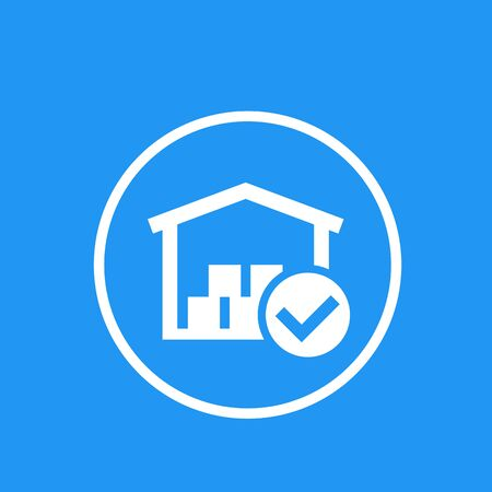 warehouse icon with checkmark Ilustrace