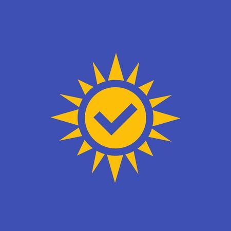 solar energy icon with checkmark