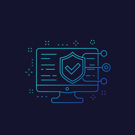 website security testing, linear icon Vector Illustration