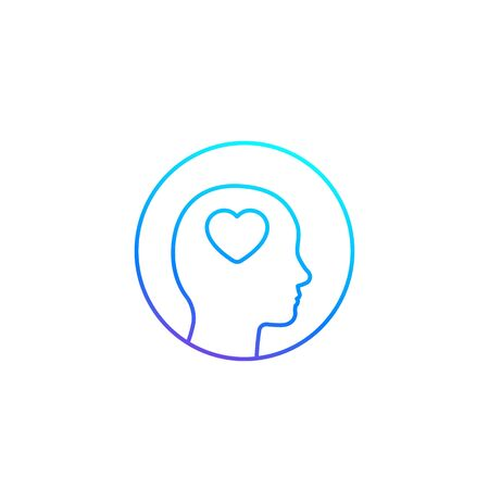 Head with heart icon, line vector