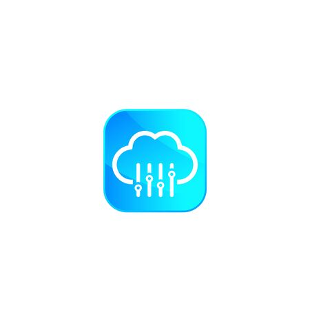 Cloud settings, hosting configuration vector icon Иллюстрация