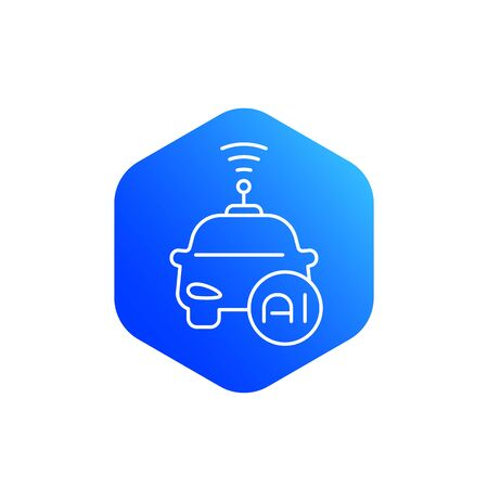 autonomous car with AI icon, line vector
