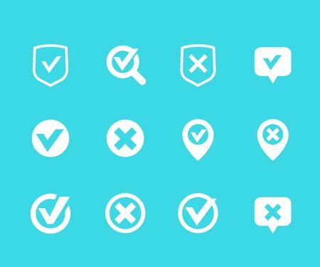 check marks, ticks, checkmark, correct, false, cancel signs, vector