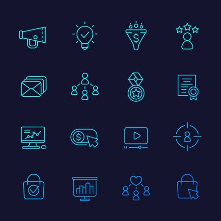 digital marketing icons, linear vector