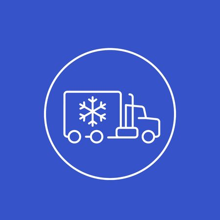 Fridge truck icon, linear vector Banco de Imagens - 132027980