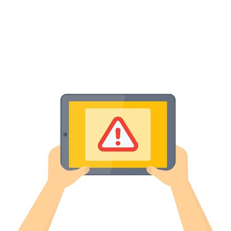 Warning alert on screen, tablet in hands, vector illustration