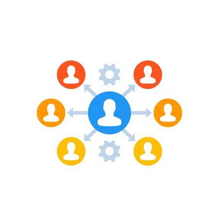 délégation, icône de gestion sur blanc Vecteurs