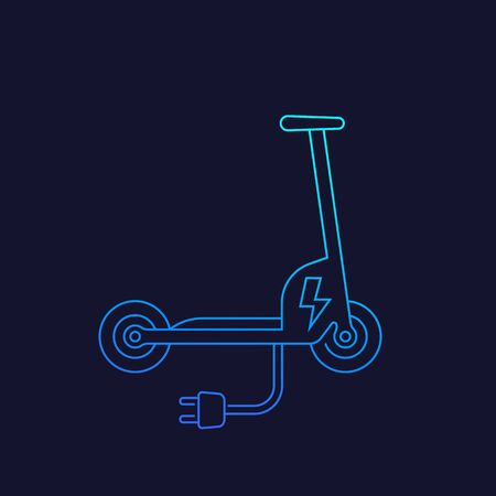 kick scooter, electric, vector line icon