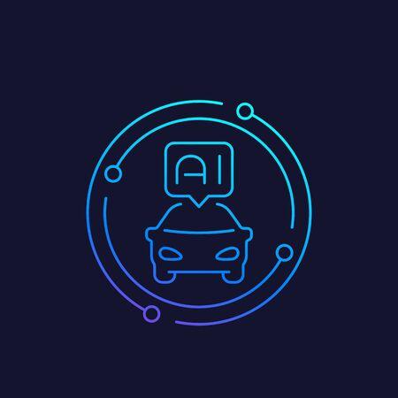autonomous car with AI vector line icon