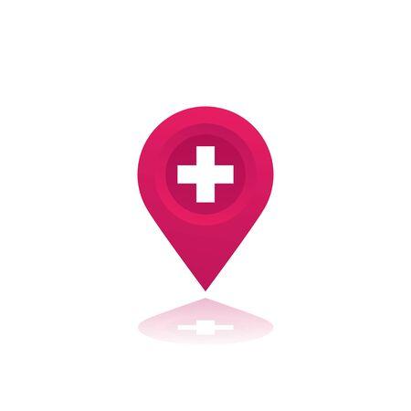 Hospital vector map mark