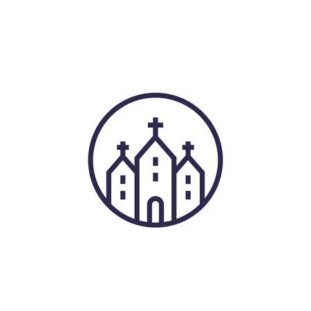 church, catholic temple, vector line icon Illusztráció