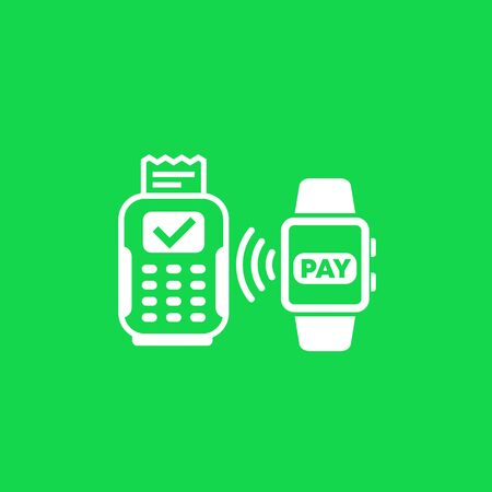 Contactless payment with pos terminal and smart watch, vector
