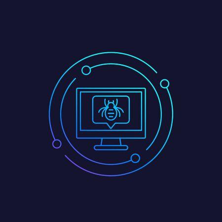 computer bug vector icon, linear