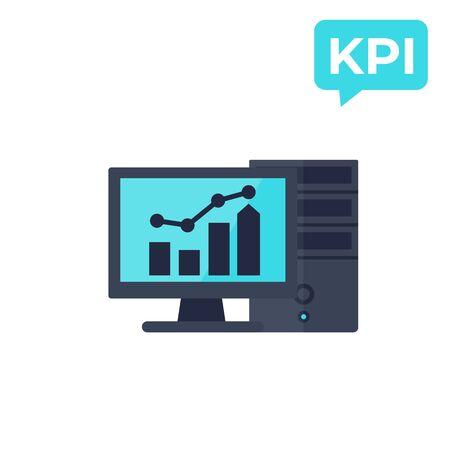 KPI, business analytics, vector icon Stok Fotoğraf - 132027832