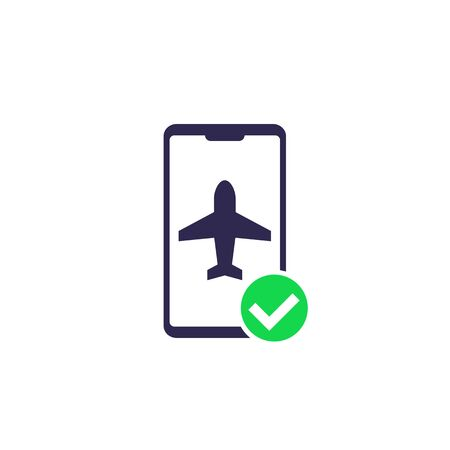 flight mode in the smartphone vector icon