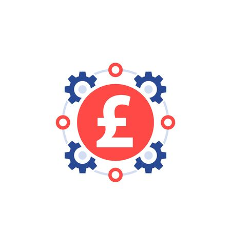 cost optimization, money management, efficiency icon with pound Stock Illustratie