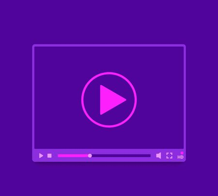 video player ui design, vector template