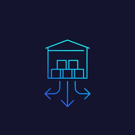 distribution center, warehouse vector line icon Illustration
