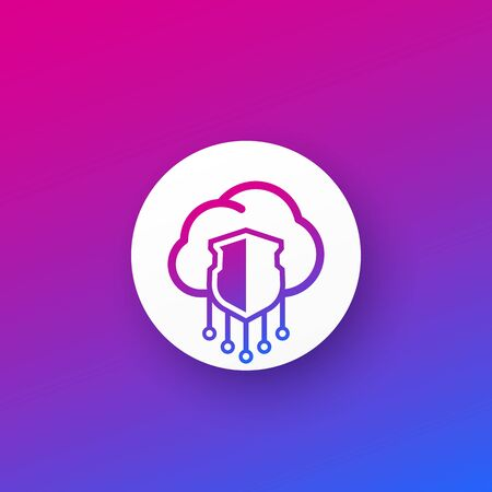 Secure hosting, cloud vector icon