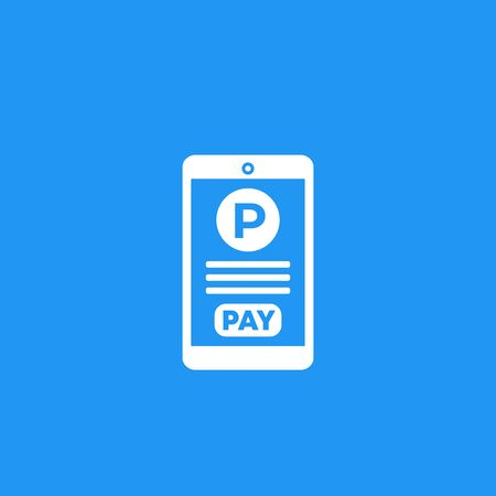 parking pay with phone, vector icon Çizim