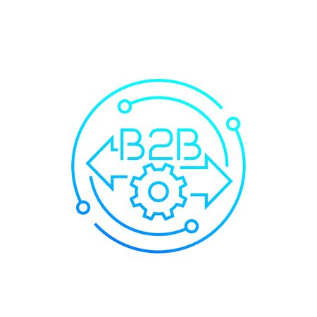 B2B, Business to business, line icon, vector