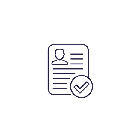resume approved vector line icon
