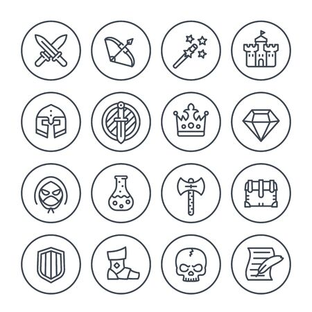 Game line icons set, RPG, fantasy, knight, magic wand, bow, castle, helmet, armor and potion