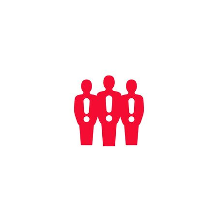people with exclamation marks vector icon Illusztráció