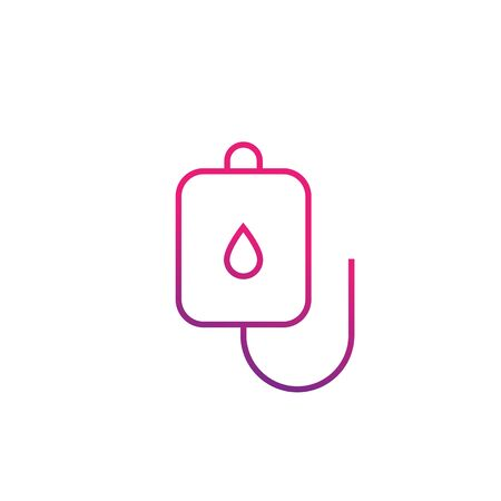 iv bag icon, line vector