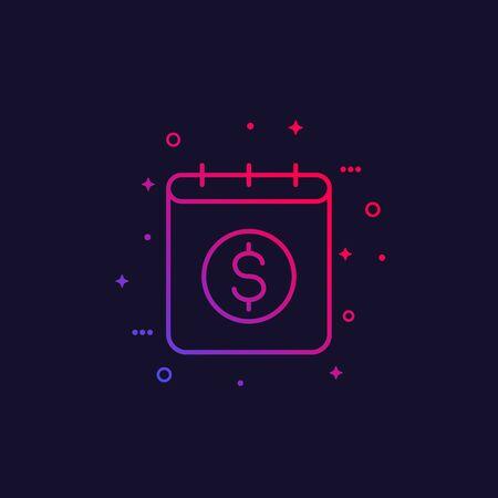 Financial calendar vector icon, linear